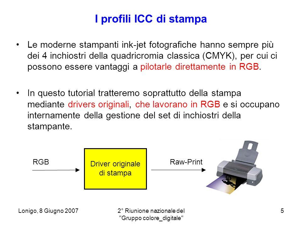 Lonigo, 8 Giugno 20072° Riunione nazionale del Gruppo colore_digitale 16 Calibrazione della stampante Impostazione del driver HP nel nostro caso: tipo carta, qualità di stampa e disattivazione degli algoritmi di gestione del colore interni al driver.
