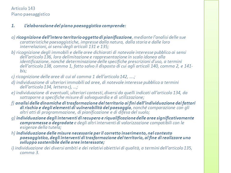 Articolo 143 Piano paesaggistico 1.Lelaborazione del piano paesaggistico comprende: a) ricognizione dellintero territorio oggetto di pianificazione, m