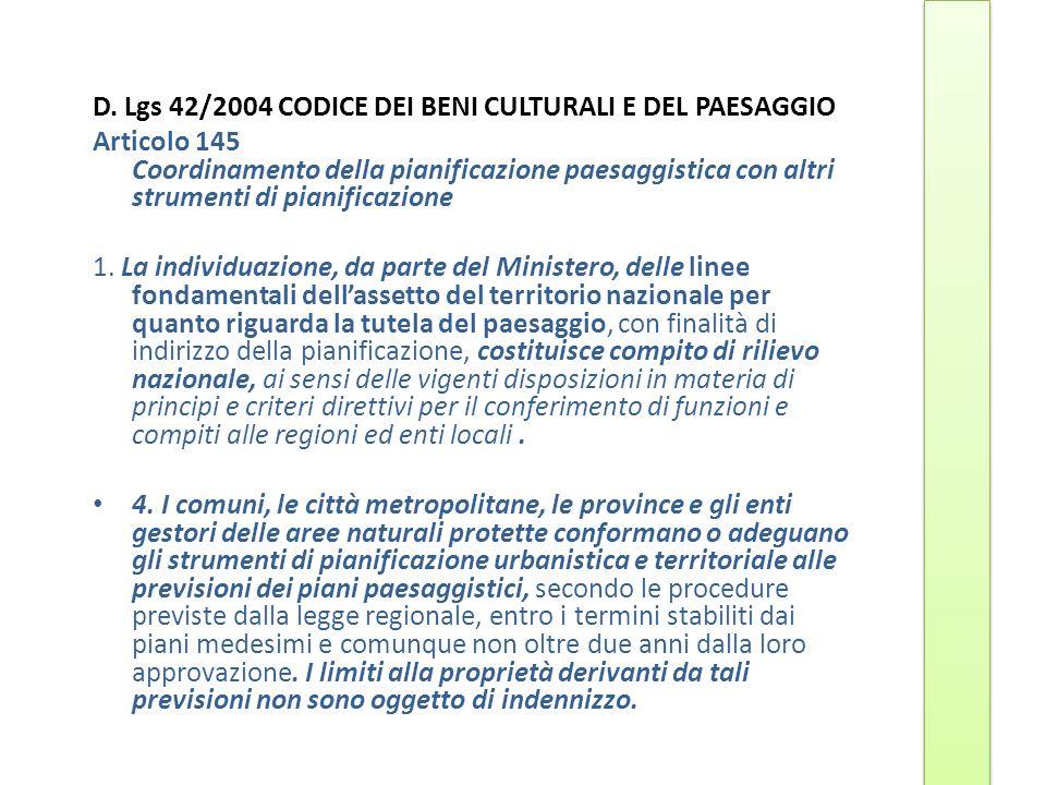 D. Lgs 42/2004 CODICE DEI BENI CULTURALI E DEL PAESAGGIO Articolo 145 Coordinamento della pianificazione paesaggistica con altri strumenti di pianific