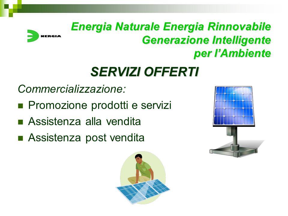 Energia Naturale Energia Rinnovabile Generazione Intelligente per lAmbiente SERVIZI OFFERTI Commercializzazione: Promozione prodotti e servizi Assiste