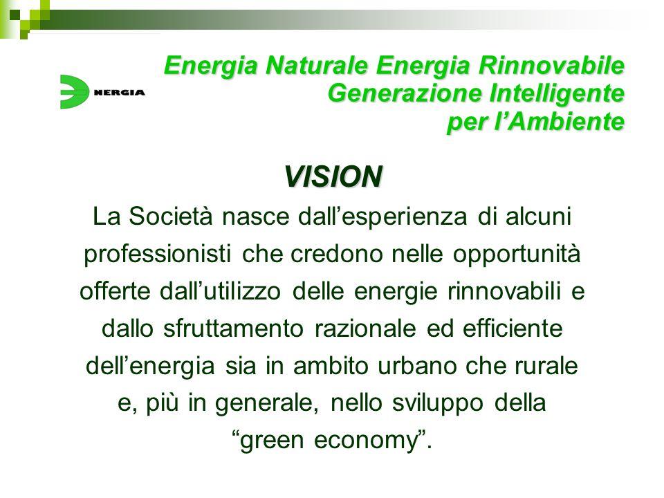 Energia Naturale Energia Rinnovabile Generazione Intelligente per lAmbiente VISION La Società nasce dallesperienza di alcuni professionisti che credon