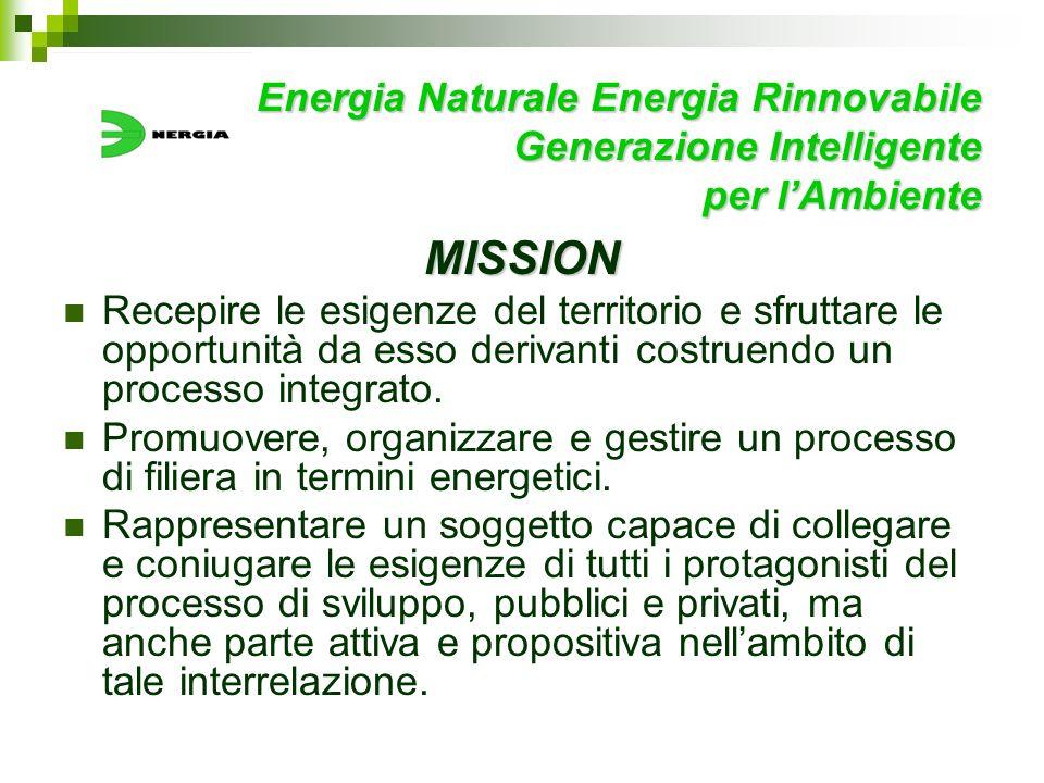 Energia Naturale Energia Rinnovabile Generazione Intelligente per lAmbiente MISSION Recepire le esigenze del territorio e sfruttare le opportunità da