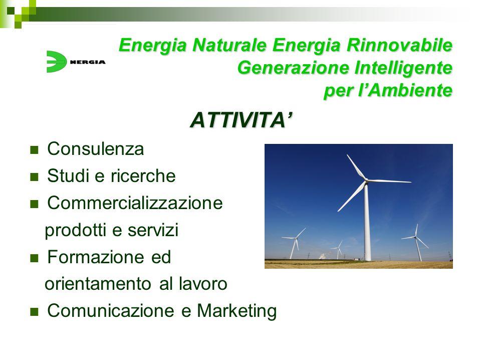 Energia Naturale Energia Rinnovabile Generazione Intelligente per lAmbiente ATTIVITA Consulenza Studi e ricerche Commercializzazione prodotti e serviz