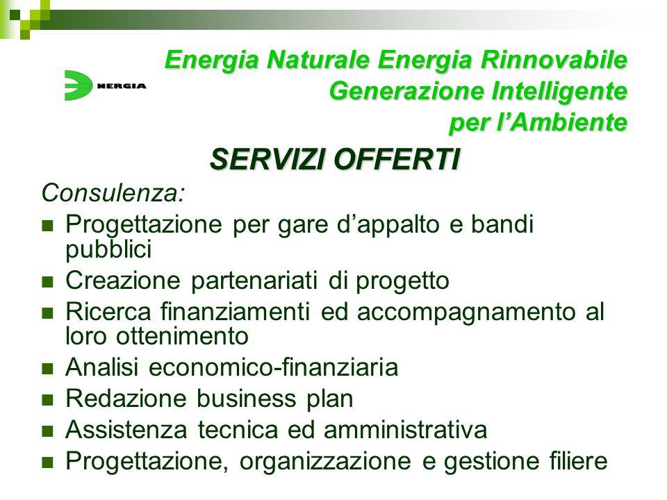 Energia Naturale Energia Rinnovabile Generazione Intelligente per lAmbiente SERVIZI OFFERTI Consulenza: Progettazione per gare dappalto e bandi pubbli