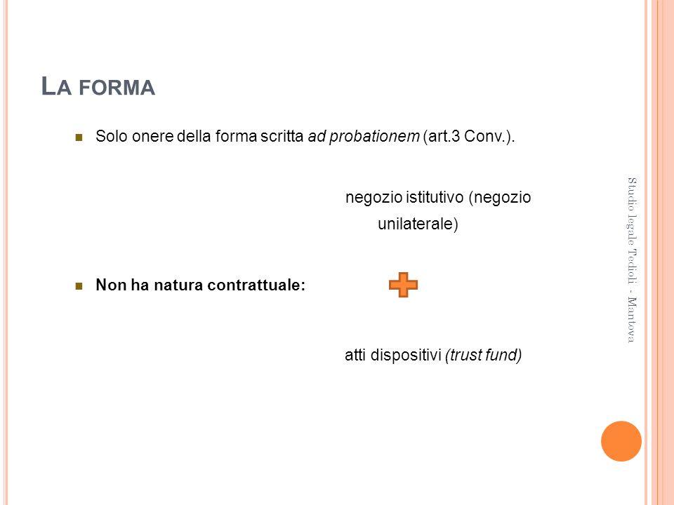 L A FORMA Solo onere della forma scritta ad probationem (art.3 Conv.). negozio istitutivo (negozio unilaterale) Non ha natura contrattuale: atti dispo