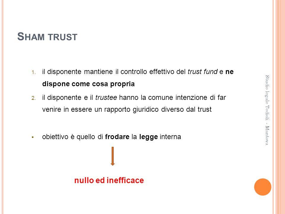 S HAM TRUST 1. il disponente mantiene il controllo effettivo del trust fund e ne dispone come cosa propria 2. il disponente e il trustee hanno la comu