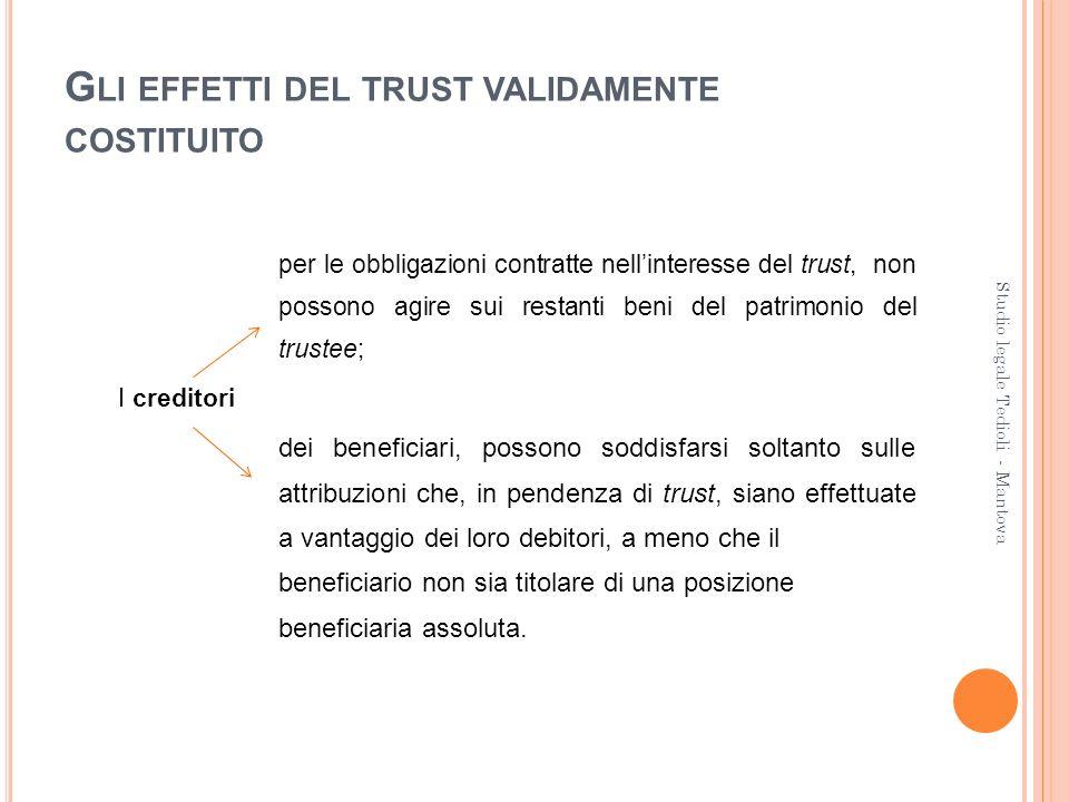 G LI EFFETTI DEL TRUST VALIDAMENTE COSTITUITO per le obbligazioni contratte nellinteresse del trust, non possono agire sui restanti beni del patrimoni
