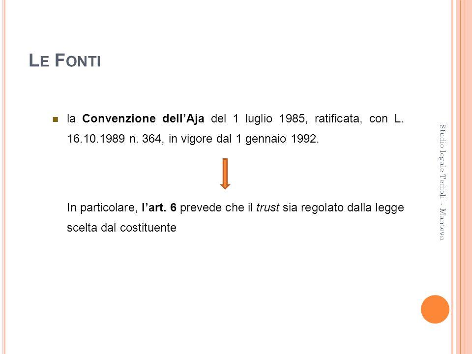 L E F ONTI la Convenzione dellAja del 1 luglio 1985, ratificata, con L. 16.10.1989 n. 364, in vigore dal 1 gennaio 1992. In particolare, lart. 6 preve