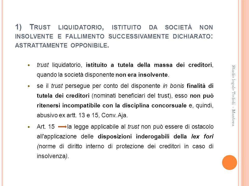 1) T RUST LIQUIDATORIO, ISTITUITO DA SOCIETÀ NON INSOLVENTE E FALLIMENTO SUCCESSIVAMENTE DICHIARATO : ASTRATTAMENTE OPPONIBILE. trust liquidatorio, is