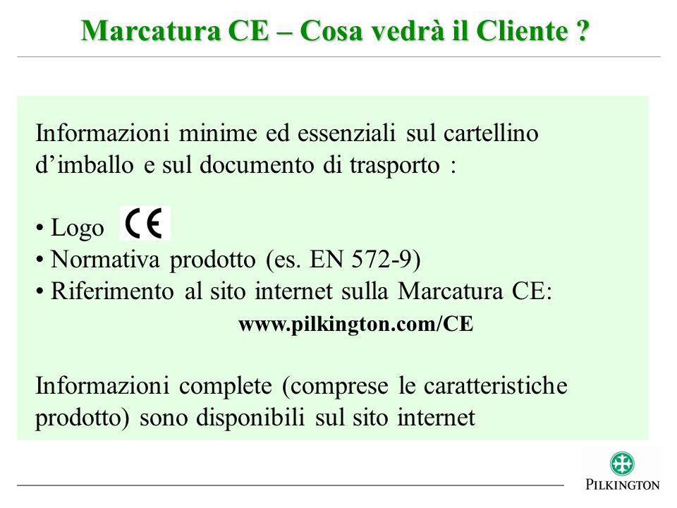 Marcatura CE – Cosa vedrà il Cliente ? Informazioni minime ed essenziali sul cartellino dimballo e sul documento di trasporto : Logo Normativa prodott