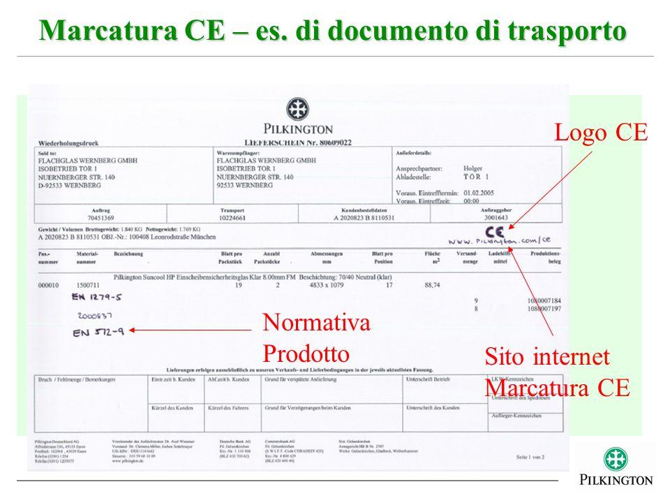 Marcatura CE – es. di documento di trasporto Logo CE Normativa Prodotto Sito internet Marcatura CE