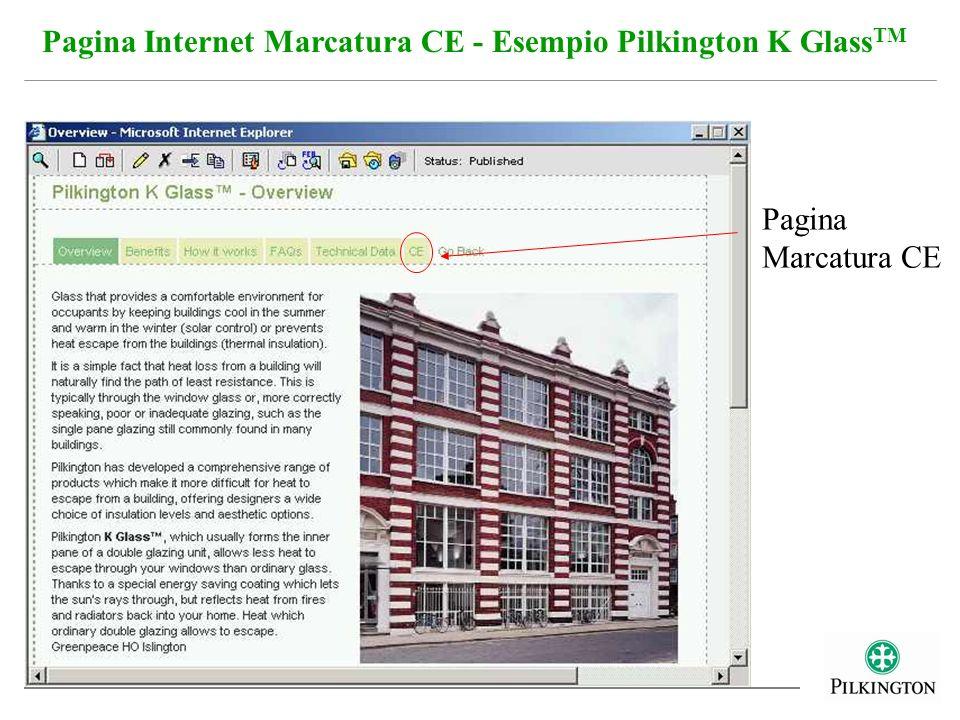 Pagina Internet Marcatura CE - Esempio Pilkington K Glass TM Pagina Marcatura CE