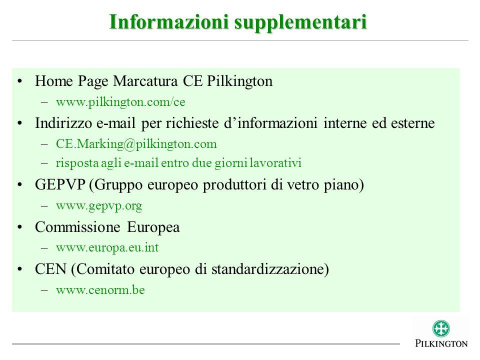Home Page Marcatura CE Pilkington –www.pilkington.com/ce Indirizzo e-mail per richieste dinformazioni interne ed esterne –CE.Marking@pilkington.com –r