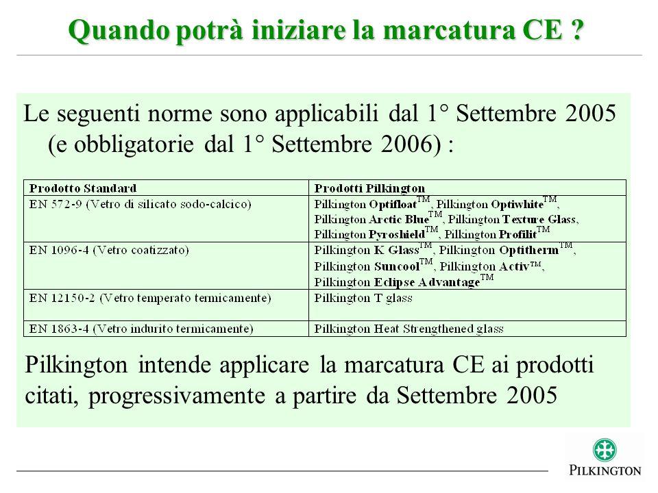 Le seguenti norme sono applicabili dal 1° Settembre 2005 (e obbligatorie dal 1° Settembre 2006) : Quando potrà iniziare la marcatura CE ? Pilkington i