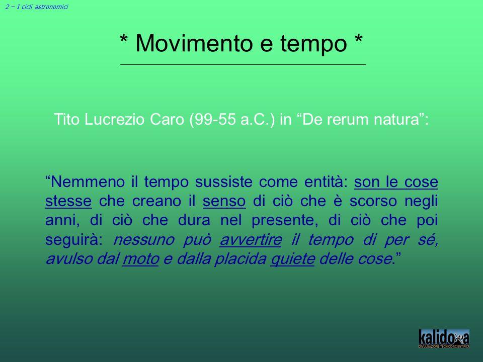 * Movimento e tempo * Tito Lucrezio Caro (99-55 a.C.) in De rerum natura: Nemmeno il tempo sussiste come entità: son le cose stesse che creano il sens