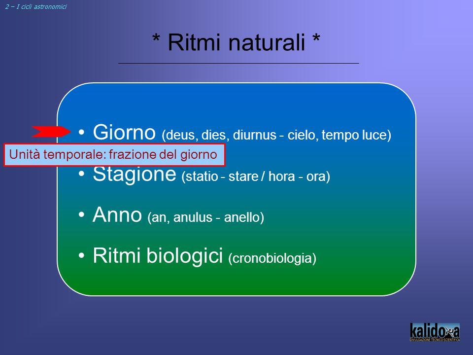 * Ritmi naturali * Giorno (deus, dies, diurnus - cielo, tempo luce) Stagione (statio - stare / hora - ora) Anno (an, anulus - anello) Ritmi biologici