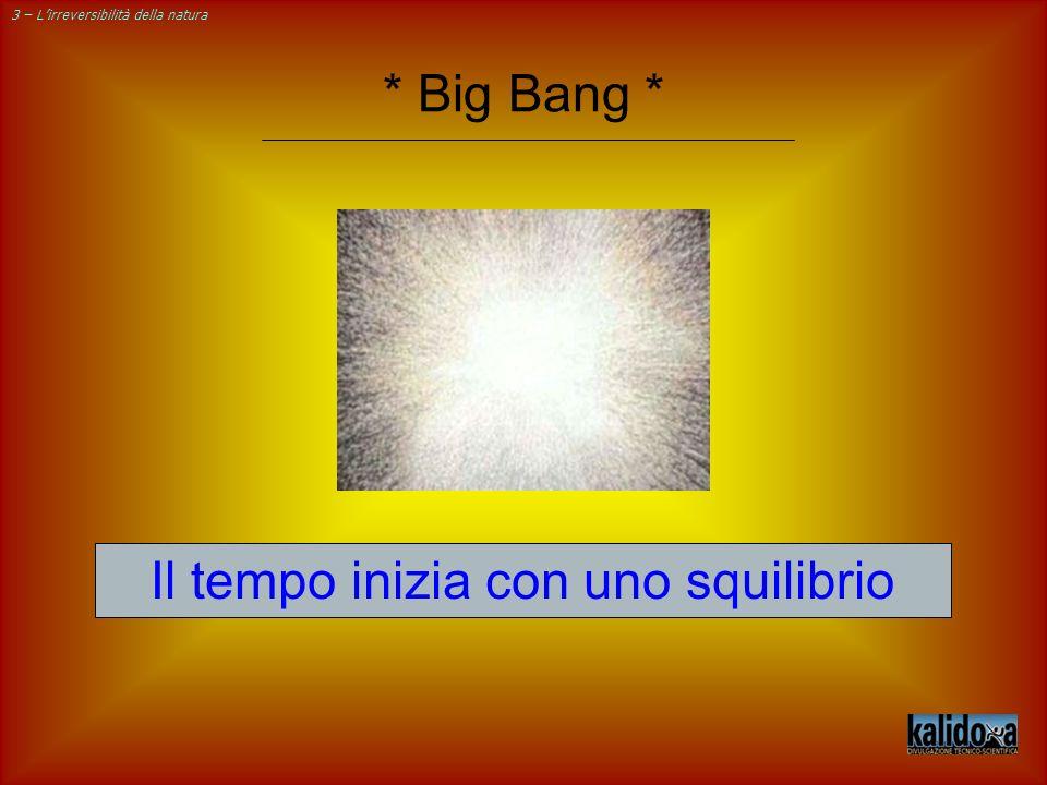 3 – Lirreversibilità della natura Il tempo inizia con uno squilibrio * Big Bang *