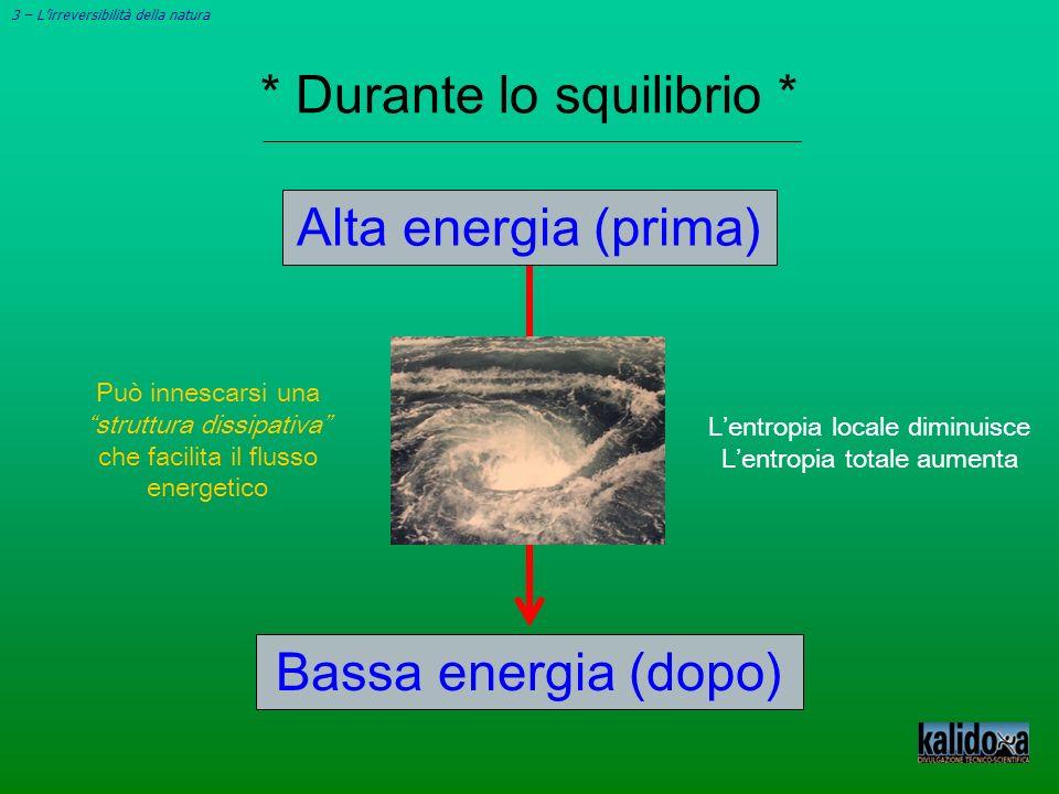 3 – Lirreversibilità della natura * Durante lo squilibrio * Lentropia locale diminuisce Lentropia totale aumenta Alta energia (prima) Può innescarsi u