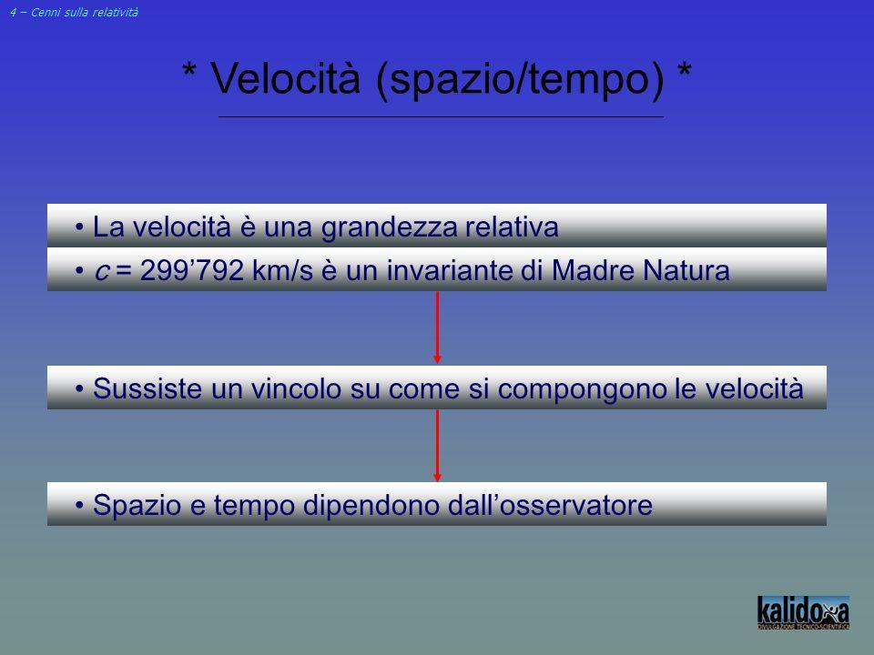 4 – Cenni sulla relatività * Velocità (spazio/tempo) * La velocità è una grandezza relativa c = 299792 km/s è un invariante di Madre Natura Sussiste u