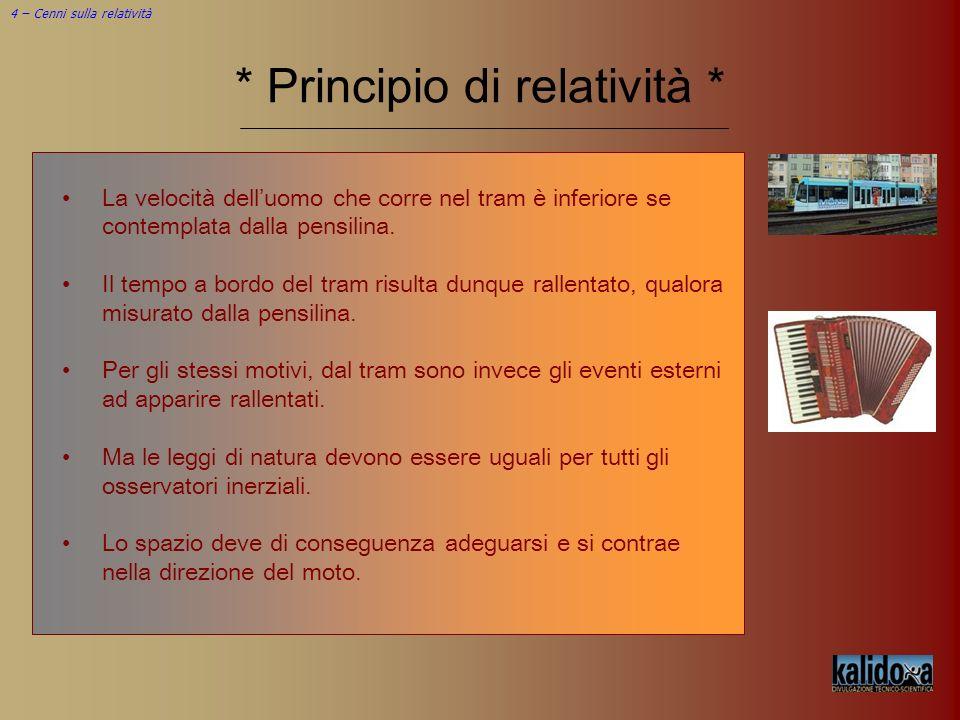 4 – Cenni sulla relatività * Principio di relatività * La velocità delluomo che corre nel tram è inferiore se contemplata dalla pensilina. Il tempo a