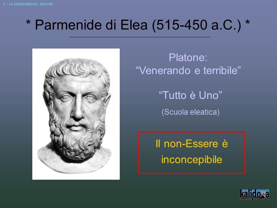 * Parmenide di Elea (515-450 a.C.) * Platone: Venerando e terribile Il non-Essere è inconcepibile Tutto è Uno (Scuola eleatica) 1 - Le interpretazioni