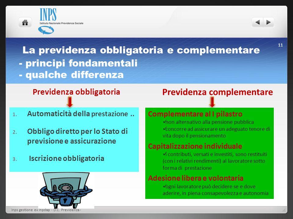 La previdenza obbligatoria e complementare - principi fondamentali - qualche differenza Previdenza complementare Previdenza obbligatoria 1. Automatici