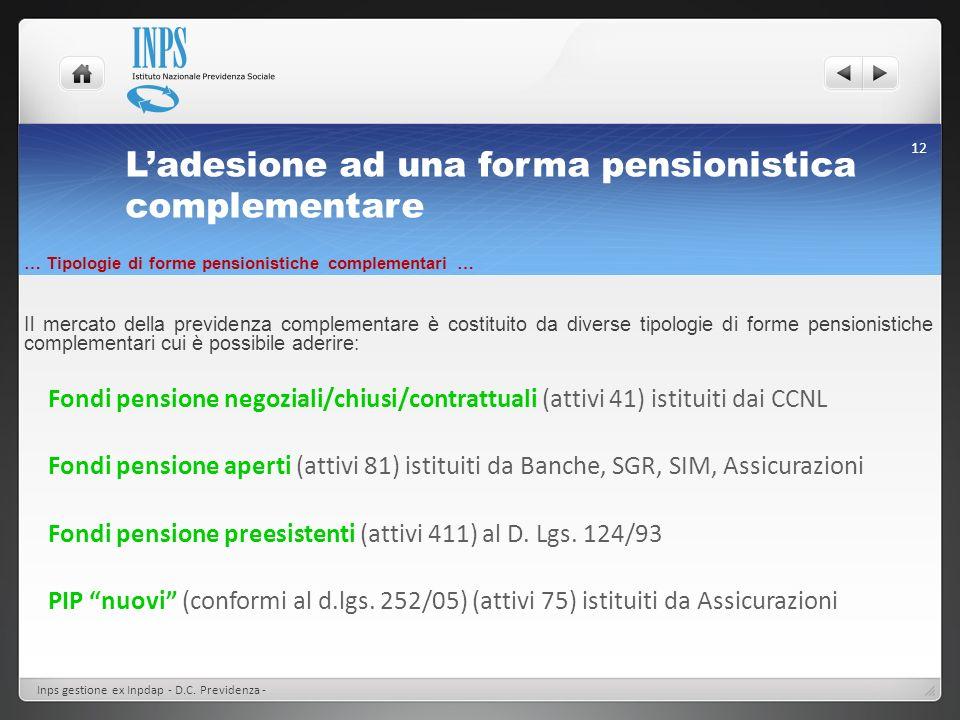 Ladesione ad una forma pensionistica complementare … Tipologie di forme pensionistiche complementari … Il mercato della previdenza complementare è cos