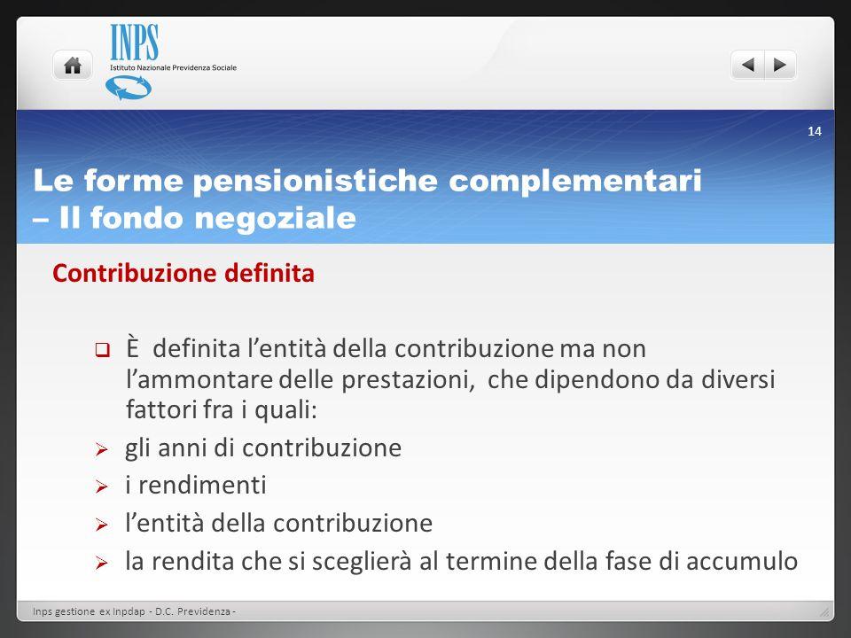 Le forme pensionistiche complementari – Il fondo negoziale Contribuzione definita È definita lentità della contribuzione ma non lammontare delle prest