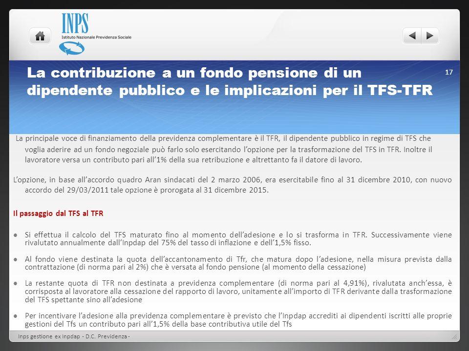 La contribuzione a un fondo pensione di un dipendente pubblico e le implicazioni per il TFS-TFR Inps gestione ex Inpdap - D.C. Previdenza - 17 La prin