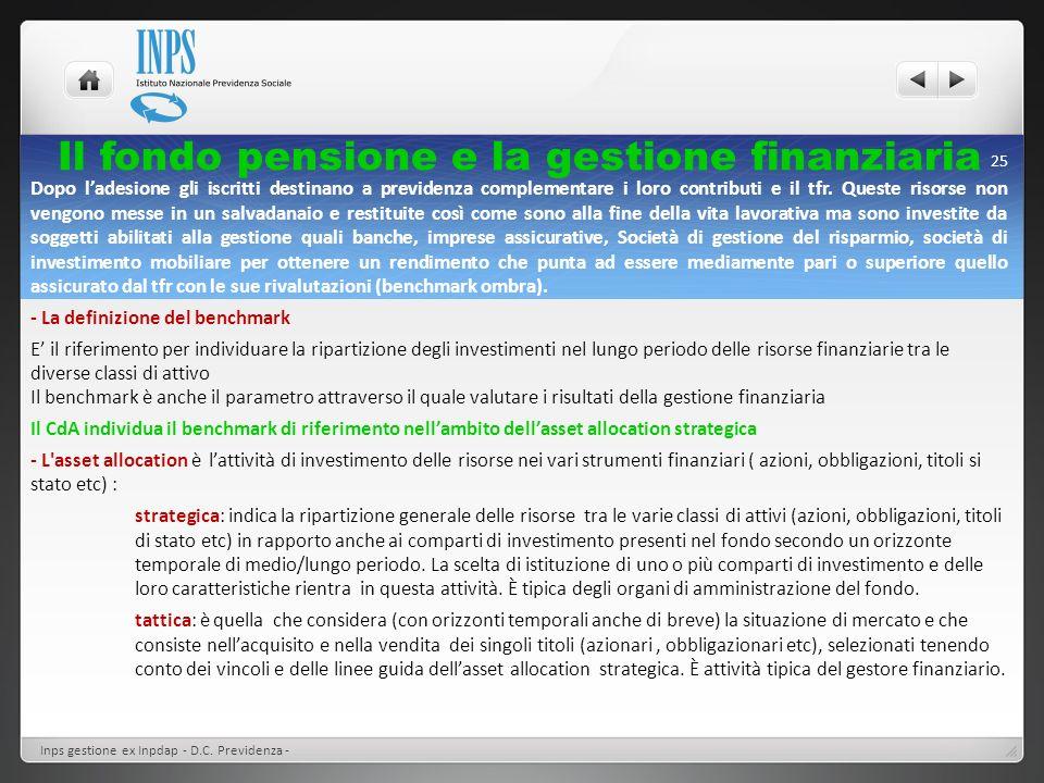 Il fondo pensione e la gestione finanziaria Inps gestione ex Inpdap - D.C. Previdenza - 25 Dopo ladesione gli iscritti destinano a previdenza compleme