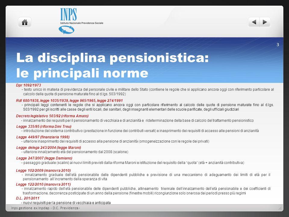 Le Prestazioni I° parte Inps gestione ex Inpdap - D.C.