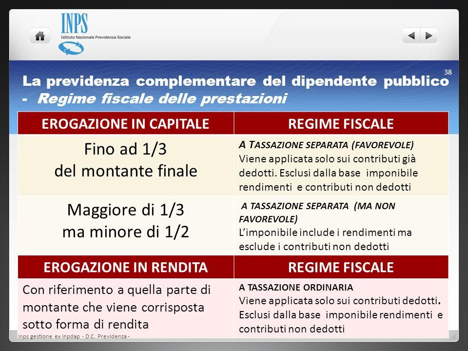 La previdenza complementare del dipendente pubblico - Regime fiscale delle prestazioni EROGAZIONE IN CAPITALEREGIME FISCALE Fino ad 1/3 del montante f