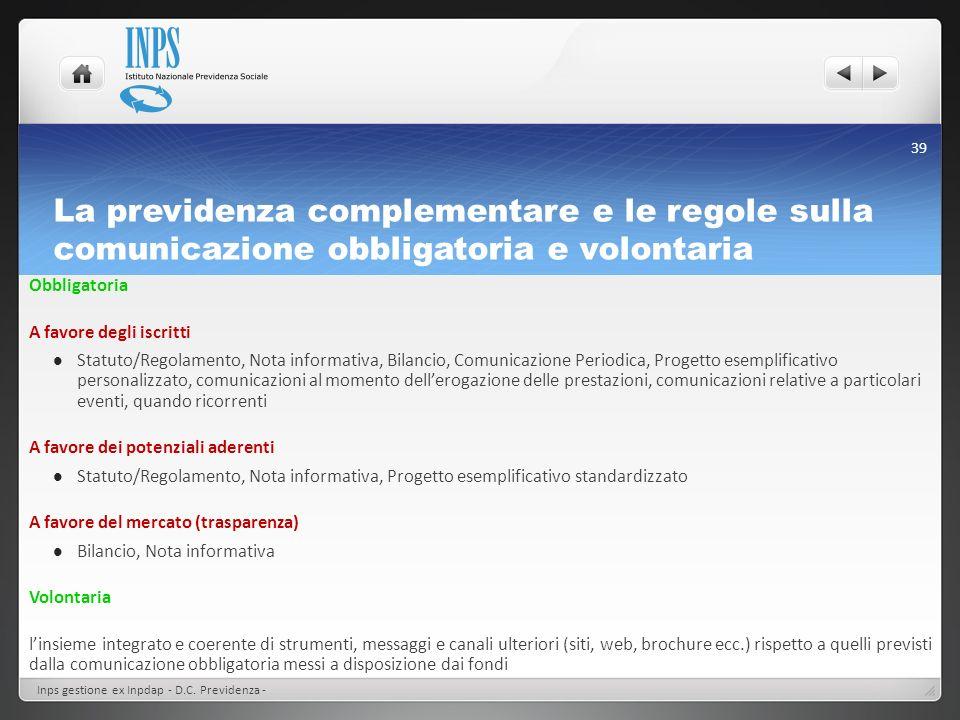 La previdenza complementare e le regole sulla comunicazione obbligatoria e volontaria Obbligatoria A favore degli iscritti Statuto/Regolamento, Nota i