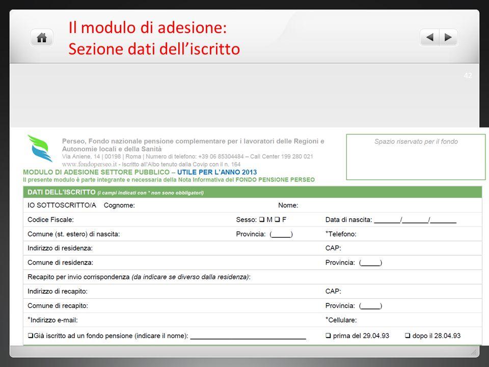 Il modulo di adesione: Sezione dati delliscritto 42