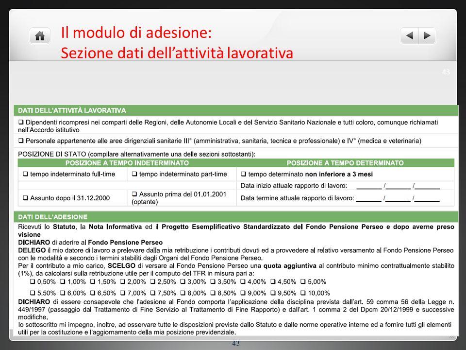 Il modulo di adesione: Sezione dati dellattività lavorativa 43