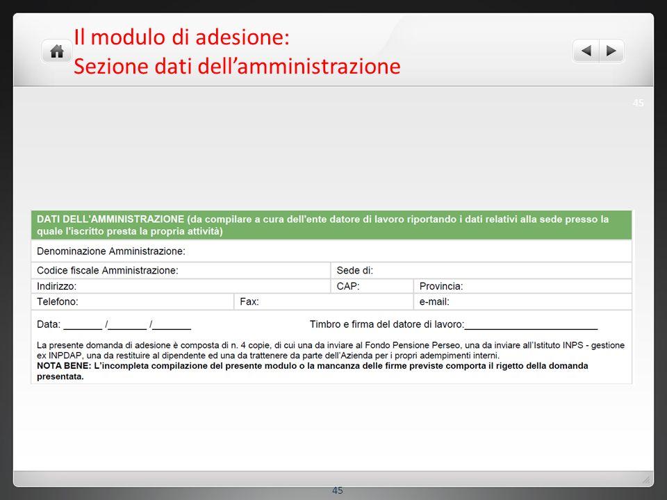 Il modulo di adesione: Sezione dati dellamministrazione 45