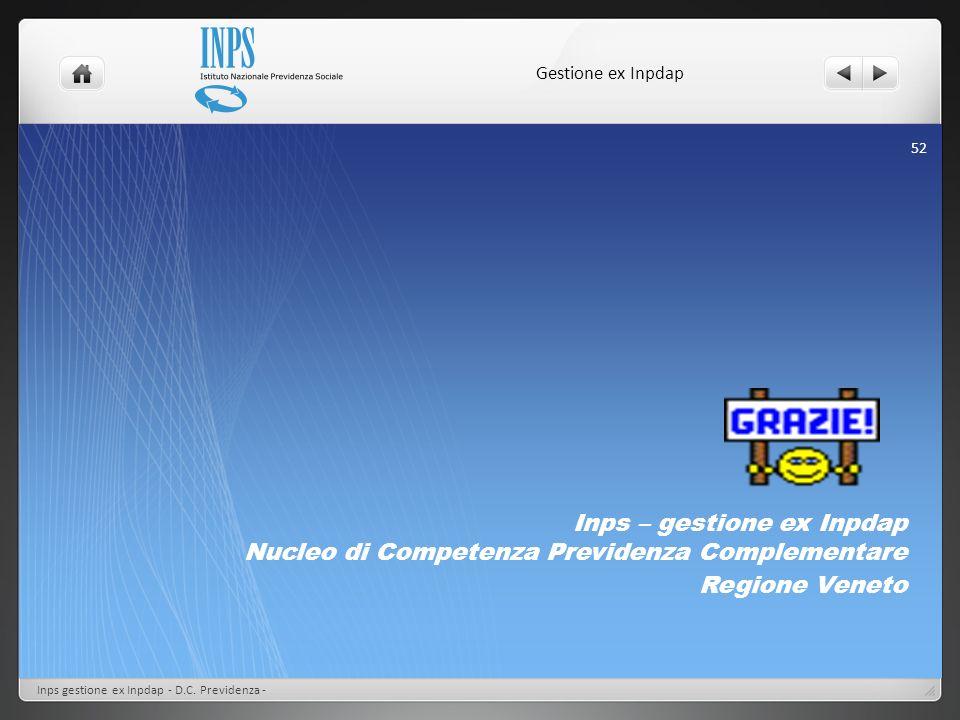 Inps – gestione ex Inpdap Nucleo di Competenza Previdenza Complementare Regione Veneto Gestione ex Inpdap Inps gestione ex Inpdap - D.C. Previdenza -