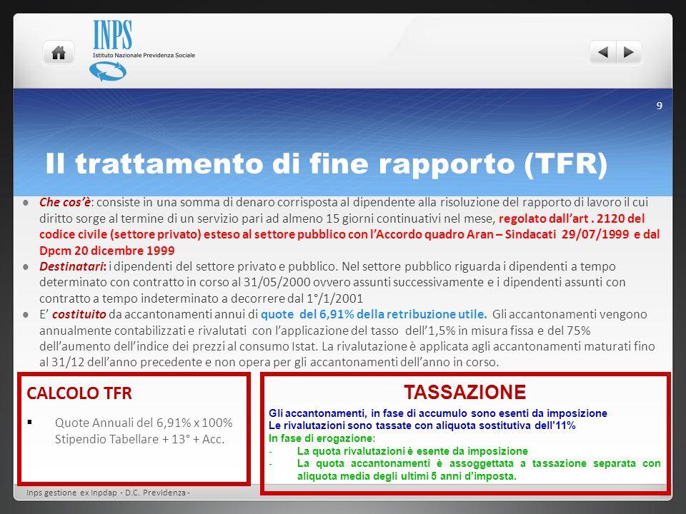 Il trattamento di fine rapporto (TFR) Inps gestione ex Inpdap - D.C. Previdenza - 9 Che cosè: consiste in una somma di denaro corrisposta al dipendent
