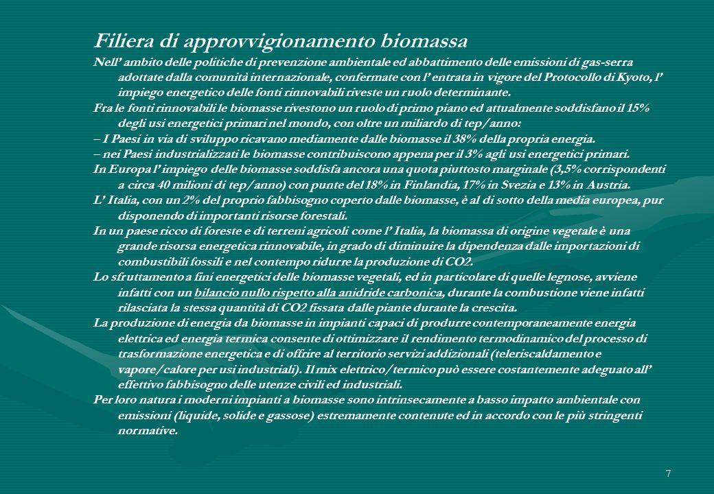 7 Filiera di approvvigionamento biomassa Nell ambito delle politiche di prevenzione ambientale ed abbattimento delle emissioni di gas-serra adottate d