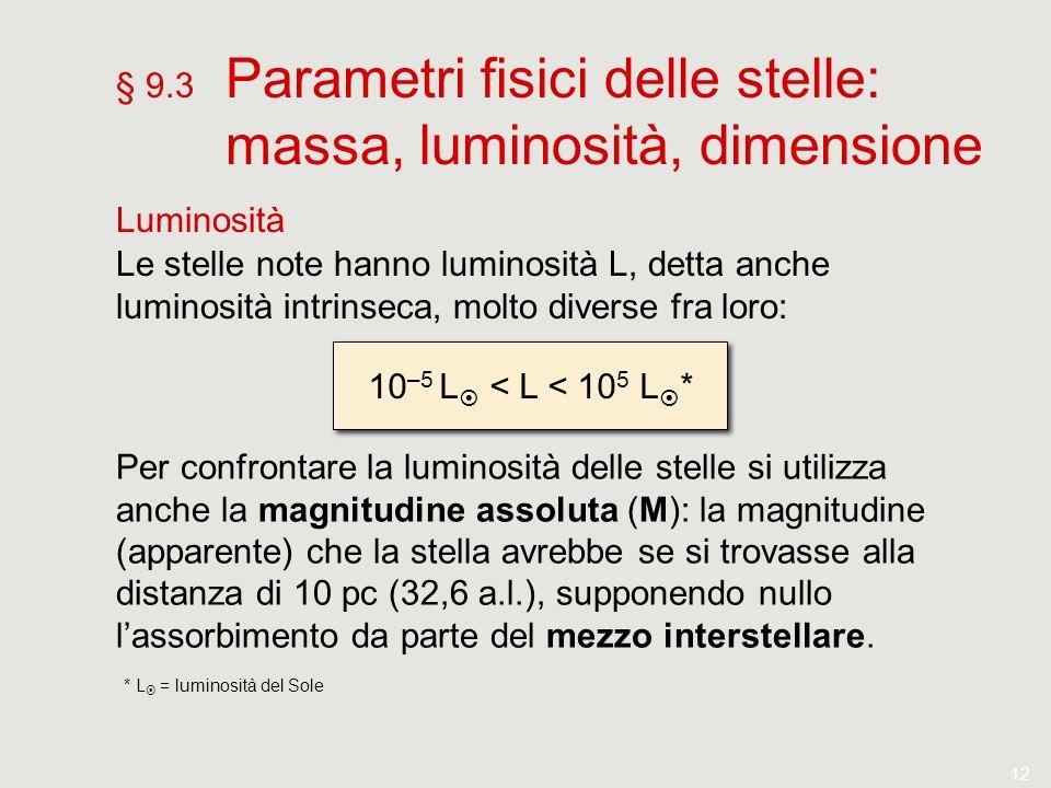 12 § 9.3 Parametri fisici delle stelle: massa, luminosità, dimensione Luminosità Le stelle note hanno luminosità L, detta anche luminosità intrinseca,