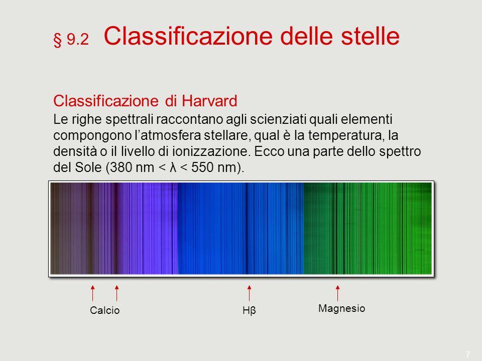 7 § 9.2 Classificazione delle stelle Classificazione di Harvard Le righe spettrali raccontano agli scienziati quali elementi compongono latmosfera ste
