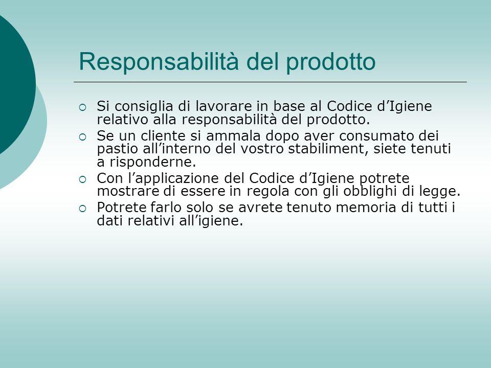 Responsabilità del prodotto Si consiglia di lavorare in base al Codice dIgiene relativo alla responsabilità del prodotto. Se un cliente si ammala dopo