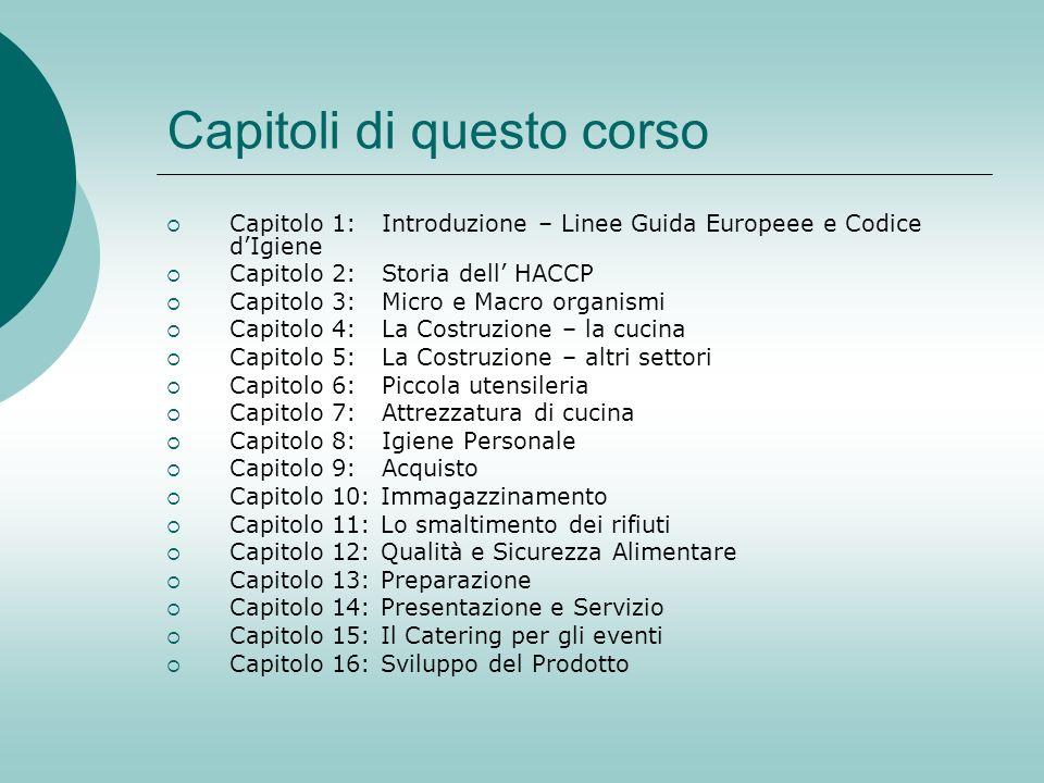Capitoli di questo corso Capitolo 1: Introduzione – Linee Guida Europeee e Codice dIgiene Capitolo 2: Storia dell HACCP Capitolo 3: Micro e Macro orga