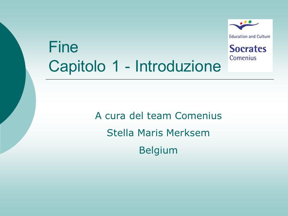 Fine Capitolo 1 - Introduzione A cura del team Comenius Stella Maris Merksem Belgium