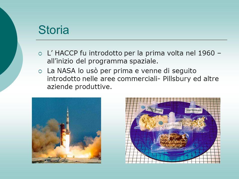 Storia L HACCP fu introdotto per la prima volta nel 1960 – allinizio del programma spaziale. La NASA lo usò per prima e venne di seguito introdotto ne