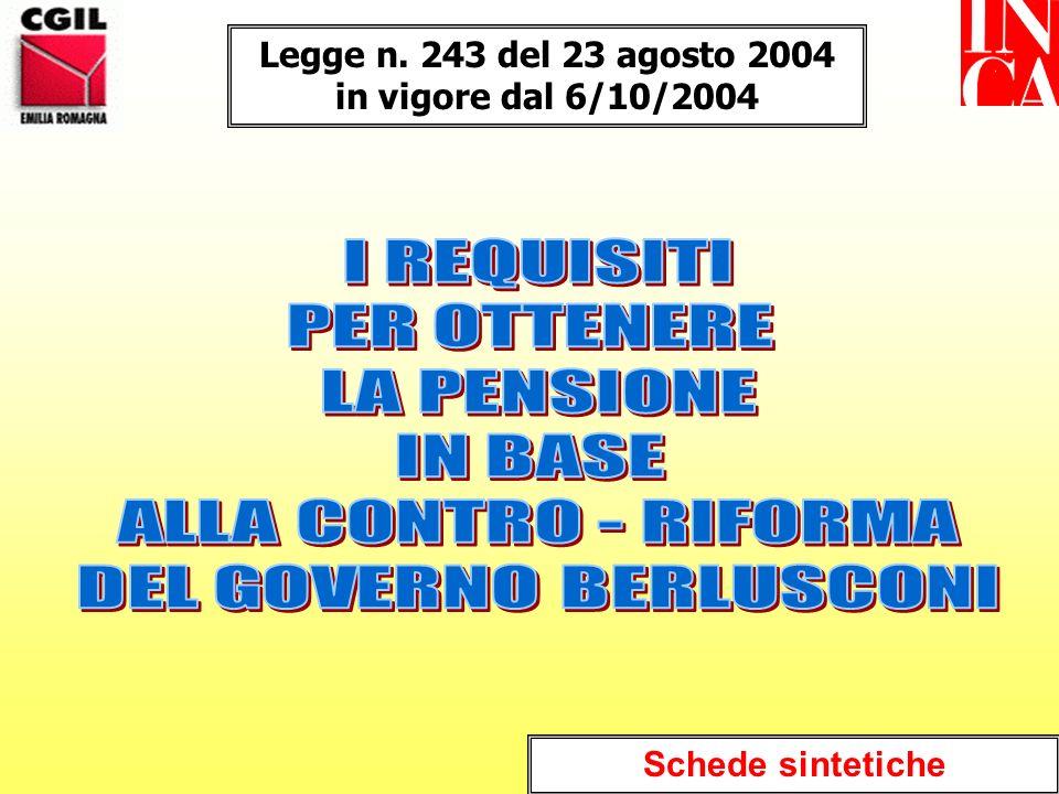 Legge n. 243 del 23 agosto 2004 in vigore dal 6/10/2004 Schede sintetiche