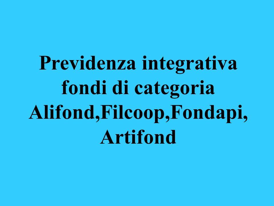 Previdenza integrativa fondi di categoria Alifond,Filcoop,Fondapi, Artifond