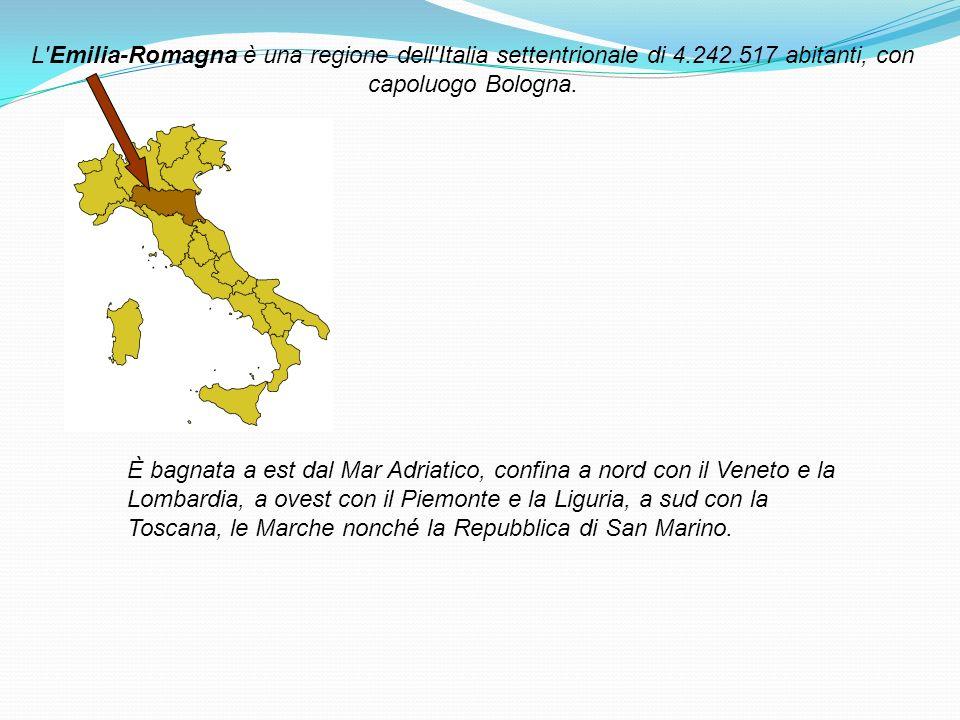 L'Emilia-Romagna è una regione dell'Italia settentrionale di 4.242.517 abitanti, con capoluogo Bologna. È bagnata a est dal Mar Adriatico, confina a n