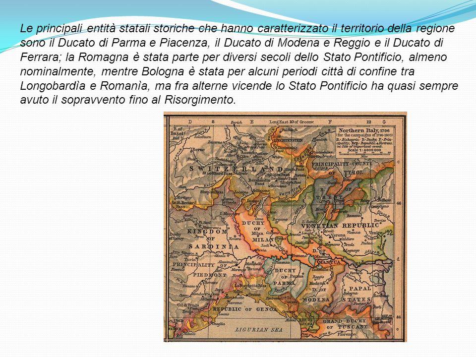 Le principali entità statali storiche che hanno caratterizzato il territorio della regione sono il Ducato di Parma e Piacenza, il Ducato di Modena e R