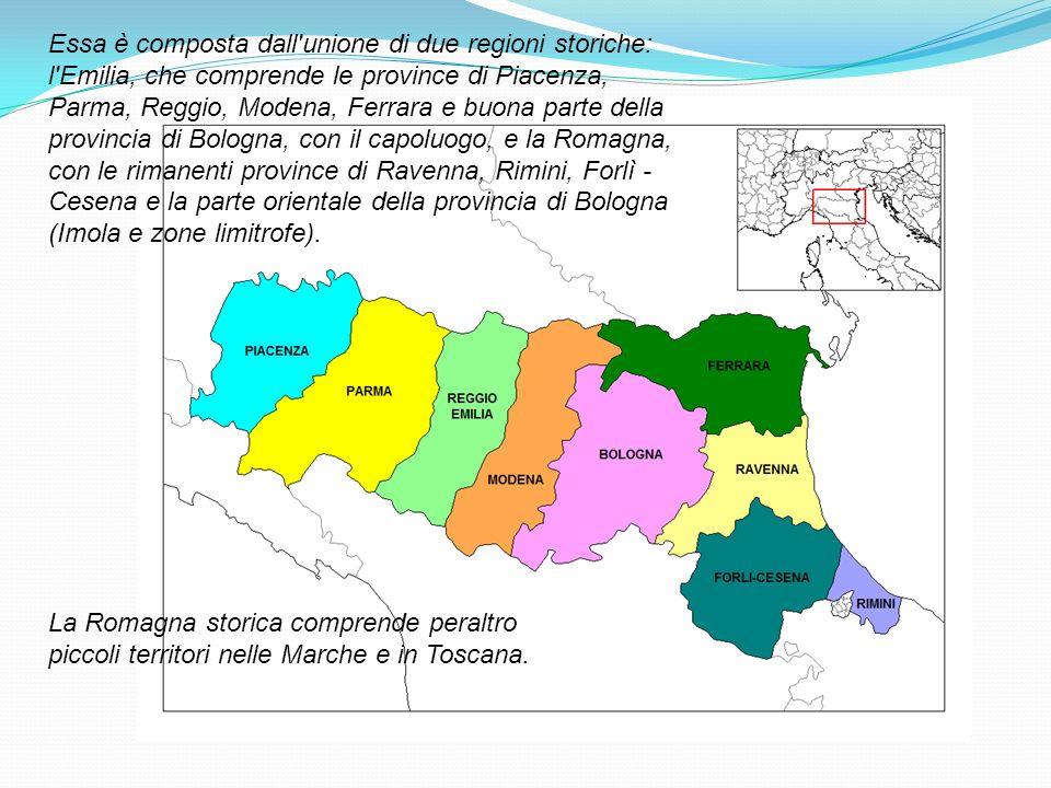 Essa è composta dall'unione di due regioni storiche: l'Emilia, che comprende le province di Piacenza, Parma, Reggio, Modena, Ferrara e buona parte del